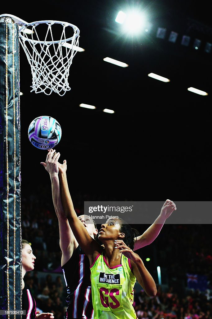 Carla Dziwoki of Australia regains posession during the final match between New Zealand and Australia on day three of the Fast5 Netball World Series at Vector Arena on November 10, 2013 in Auckland, New Zealand.
