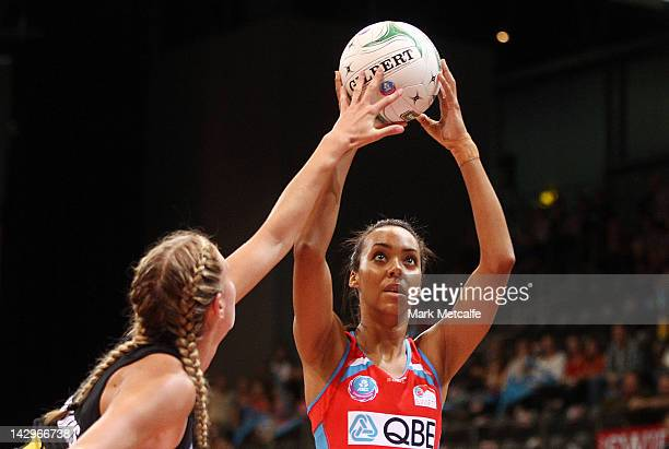 Carla Dziwoki of the Swifts looks to shoot during the round three ANZ Championship match between the Swifts and the Magic at Sydney Olympic Park...