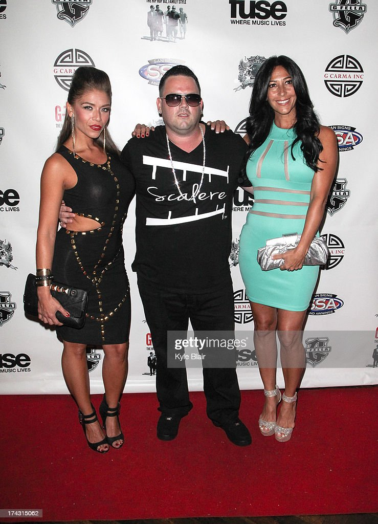 Carla Facciolo (R) and G Fella and his wife Melissa Scalere attend the 'G-Thing' Series Premiere Party at The Griffin on July 23, 2013 in New York City.