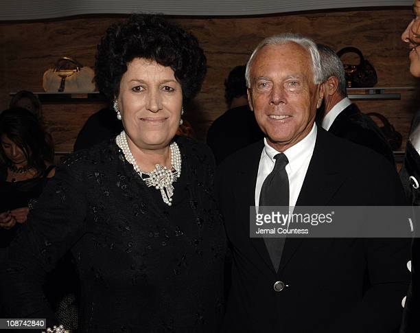 Carla Fendi and Giorgio Armani during Fendi New York City Flagship Store Opening Inside at Fendi Flagship Store in New York City New York United...