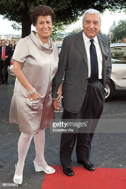 Carla Fendi and husband attend Marina Cicogna Opening Exhibition at Villa Medici on June 3 2009 in Rome Italy