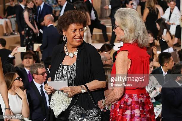Carla Fendi and Marina Cicogna attend the Valentino Mirabilia Romae Fashion show at Piazza Mignanelli on July 9 2015 in Rome Italy