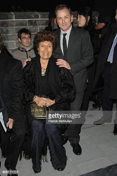 Carla Fendi and Michael Burke attend FENDI Great Wall Of China Fashion Show Front Row and Runway at The Great Wall of China on October 19 2007 in...