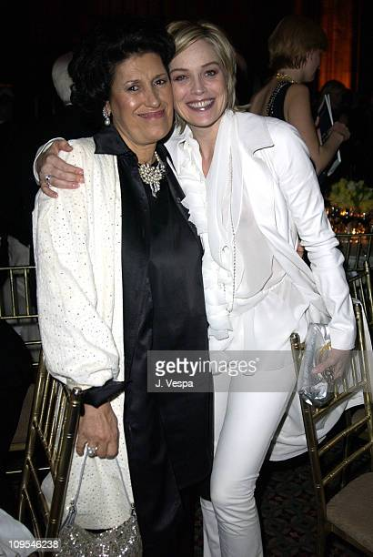 Carla Fendi and Sharon Stone during amfAR Benefit Evening Honoring Richard Gere Lorne Michaels and Anna Wintour Party at Cipriani's 42nd Street in...