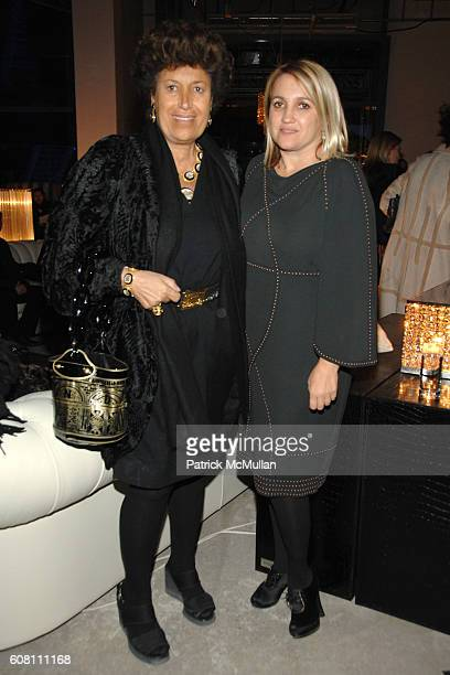 Carla Fendi and Silvia Fendi attend FENDI Great Wall Of China Fashion Show Dinner Afterparty at The Village at Sanlitun on October 19 2007 in Beijing...