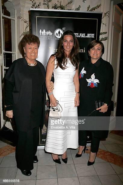 Carla Fendi Elisabetta Beccari and Silvia Fendi Venturini attend the charity dinner organized by Fondazione Rava for the children of Haiti at Villa...