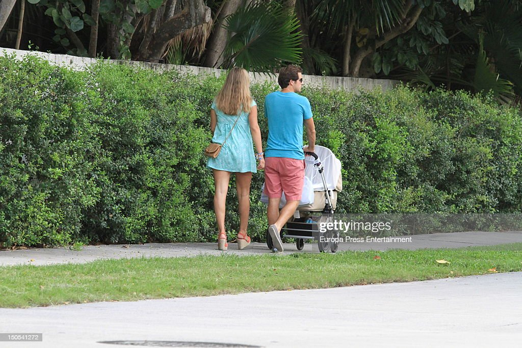 Carla Goyanes and her husband Jorge Benguria are seen with their newborn baby on July 28 2012 in Miami Florida