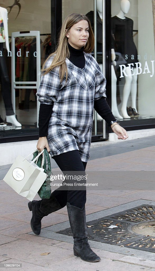 Carla Goyanes five months pregnant is seen going shopping for her future baby on February 8 2012 in Madrid Spain