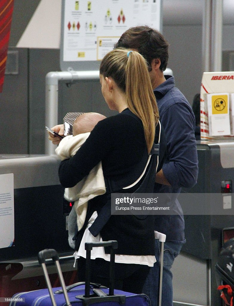 Carla Goyanes Jorge Benguria and their son Carlos are seen on October 21 2012 in Madrid Spain
