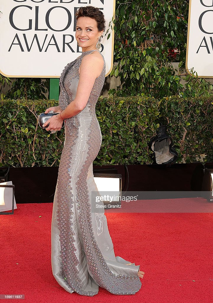 Carla Gugino arrives at the 70th Annual Golden Globe Awards at The Beverly Hilton Hotel on January 13, 2013 in Beverly Hills, California.