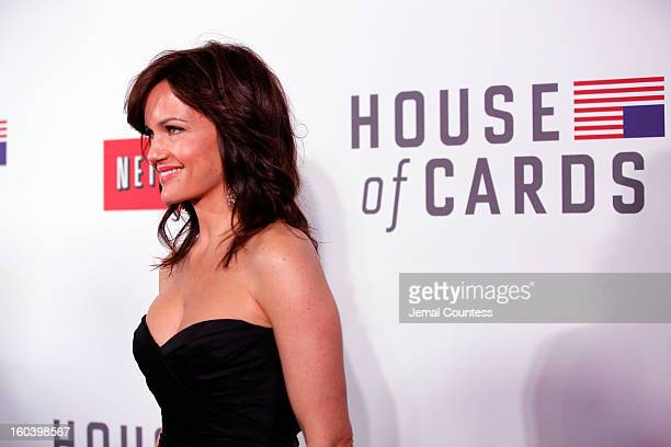 Carla Gugino attends the Netflix's 'House Of Cards' New York Premiere at Alice Tully Hall on January 30 2013 in New York City