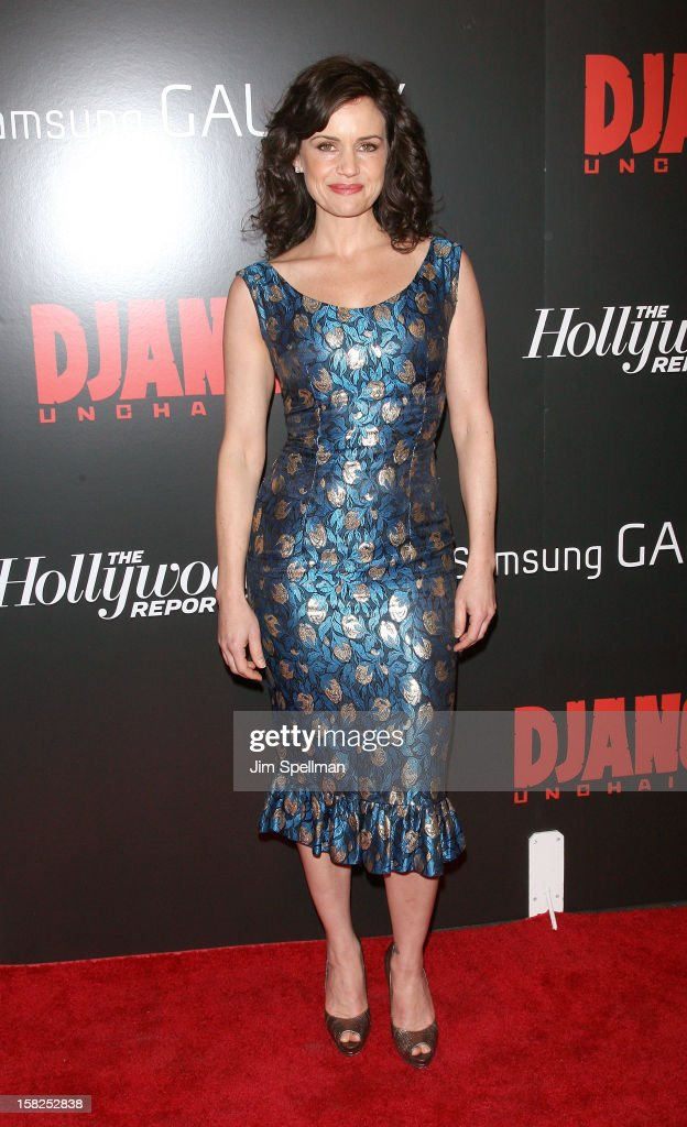 Carla Gugino attends The Weinstein Company with The Hollywood Reporter, Samsung Galaxy & The Cinema Society screening of 'Django Unchained' at the Ziegfeld Theatre on December 11, 2012 in New York City.