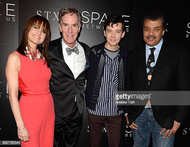 Carla Gugino Bill Nye Asa Butterfield and Neil deGrasse Tyson attend a screening of 'The Space Between Us' hosted by STX Entertainment and The Cinema...