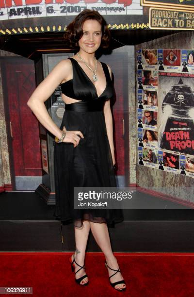 Carla Gugino during 'Grindhouse' Los Angeles Premiere Arrivals at Orpheum Theatre in Los Angeles California United States