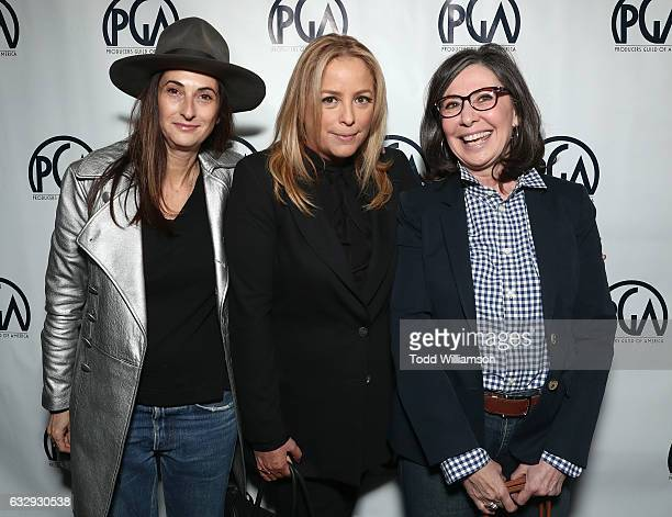Carla Hacken Julie Yorn and Donna Gigliotti attends the 28th Annual Producers Guild Awards Nominees Breakfast at Saban Theatre on January 28 2017 in...