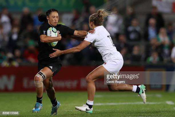 Carla Hohepa of New Zealand is tackled by Kay Wilson of England during the Women's Rugby World Cup 2017 Final between England and New Zealand on...