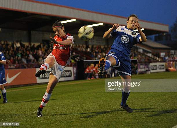 Carla Humphrey of Arsenal Ladies crosses under pressure from Hayley Ladd of Bristol during the WSL match between Arsenal Ladies and Bristol Academy...