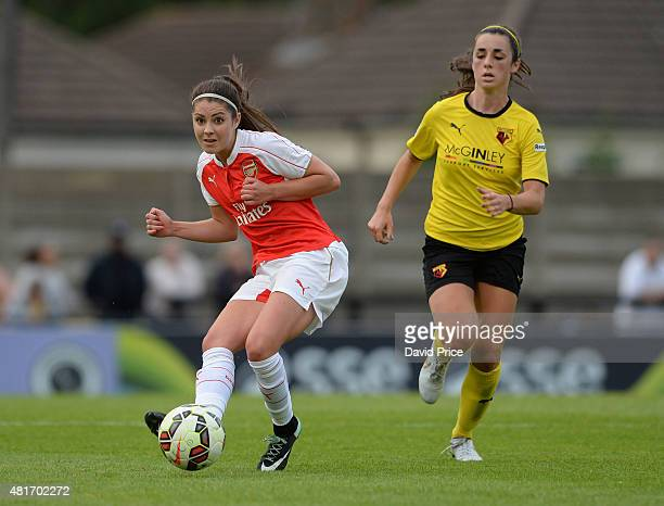 Carla Humphrey of Arsenal Ladies under pressure from Phoebe Read of Watford during the match between Arsenal Ladies and Watford Ladies at Meadow Park...