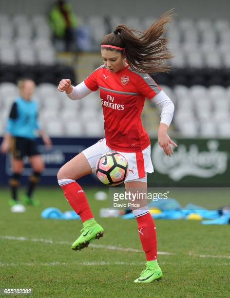 Carla Humphrey of Arsenal warms up before the match between Arsenal Ladies and Tottenham Hotspur Ladies on March 19 2017 in Borehamwood England