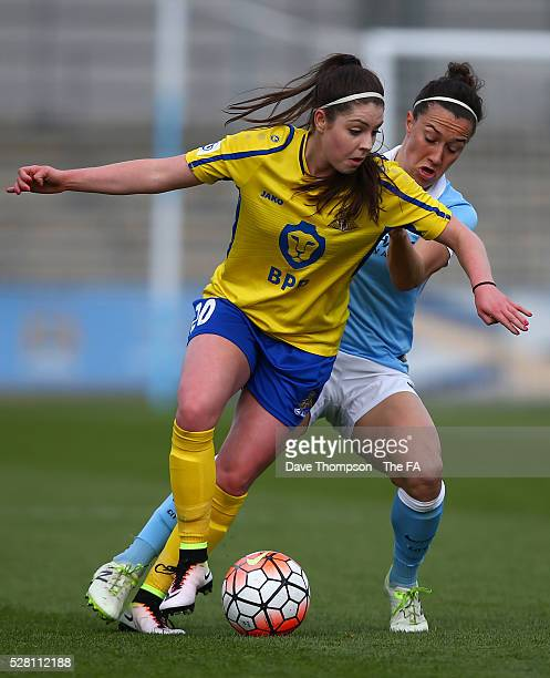Carla Humphrey of Doncaster Belles and Lucy Bronze of Manchester City Women during the game between Manchester City Women and Doncaster Belles at the...