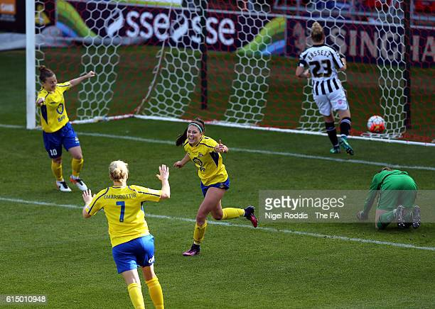 Carla Humphrey of Doncaster Rovers Belles celebrates scoring during the WSL 1 match between Doncaster Rovers Belles and Notts County Ladies FC at the...