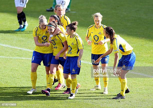 Carla Humphrey of Doncaster Rovers Belles celebrates scoring with teamates during the WSL 1 match between Doncaster Rovers Belles and Notts County...
