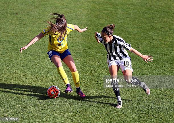Carla Humphrey of Doncaster Rovers Belles challenges Jo Potter of Notts County Ladies FC during the WSL 1 match between Doncaster Rovers Belles and...