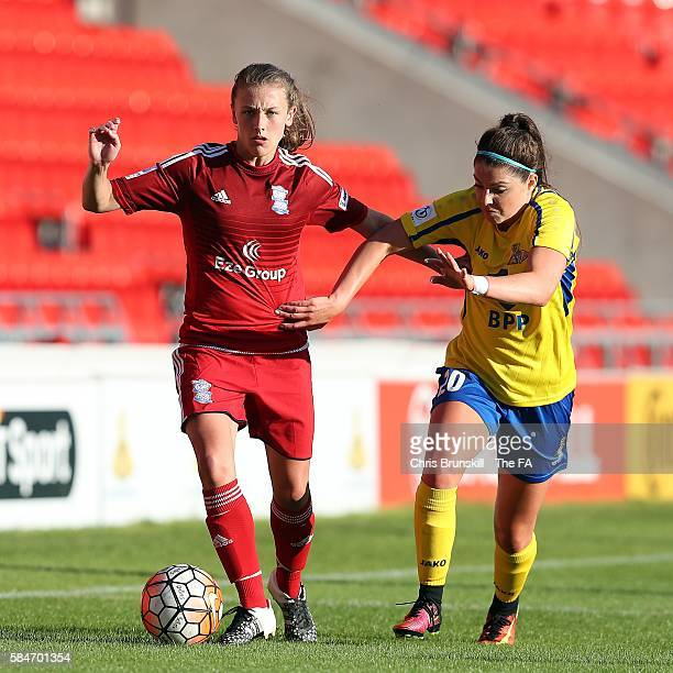 Carla Humphrey of Doncaster Rovers Belles in action with Kerys Harrop of Birmingham City Ladies during the FA WSL match between Doncaster Rovers...
