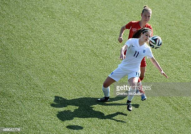 Carla Humphrey of England and Lesley Ramseier of Switzerland during the UEFA U19 Women's Qualifier between England and Switzerland at Seaview on...