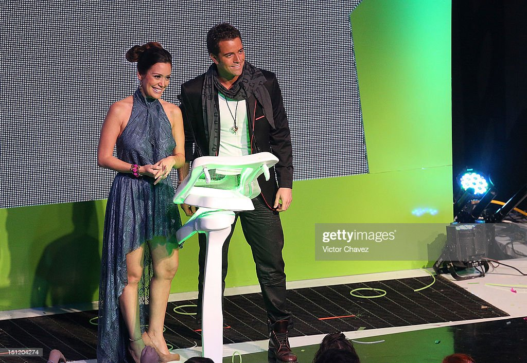 Carla Medina and Mane de la Parra speak onstage at the Kids Choice Awards Mexico 2012 at Pepsi Center WTC on September 1, 2012 in Mexico City, Mexico.