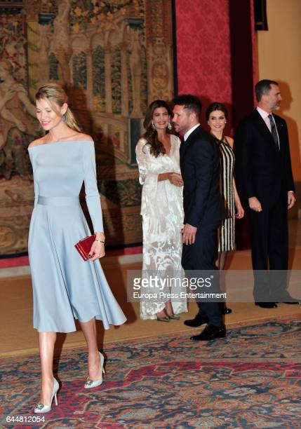 Carla Pereyra and Diego Simeone attend a reception Argentina's President Mauricio Macri and wife Juliana Awada offer a reception in honour of King...