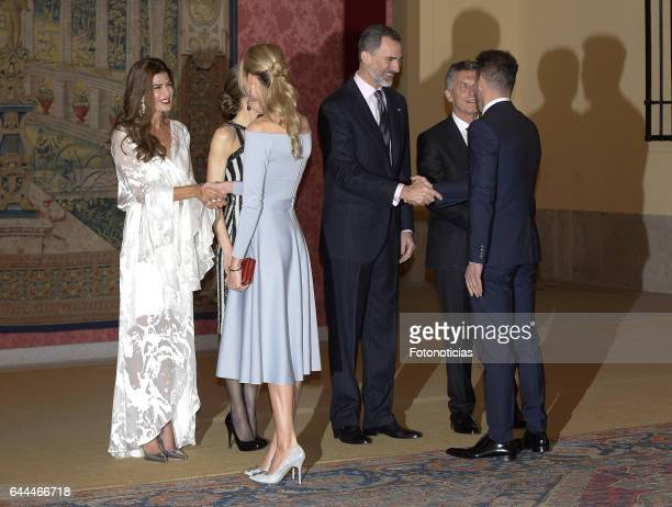 Carla Pereyra and Diego Simeone attend a reception offered by Argentina's President Mauricio Macri and his wife Juliana Awada in honour of King...