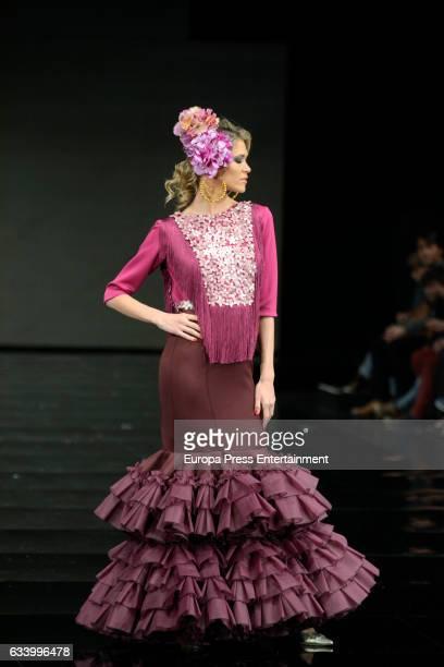 Carla Pereyra walks the runway International Flamenco Fashion SIMOF 17 on February 3 2017 in Seville Spain
