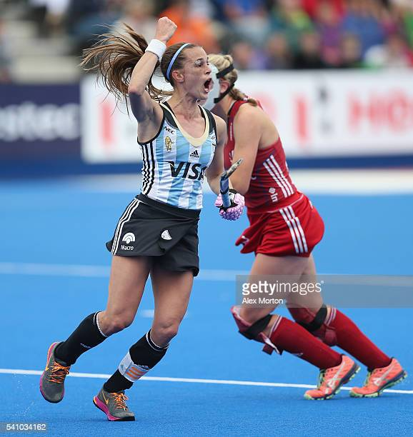 Carla Rebecchi of Argentina celebrates after scoring their second goal during the FIH Women's Hockey Champions Trophy match between Argentina and...