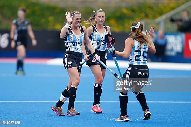 Carla Rebecchi of Argentina celebrates her goal during the FIH Women's Hockey Champions Trophy 2016 match between Great Britain and Argentina at...