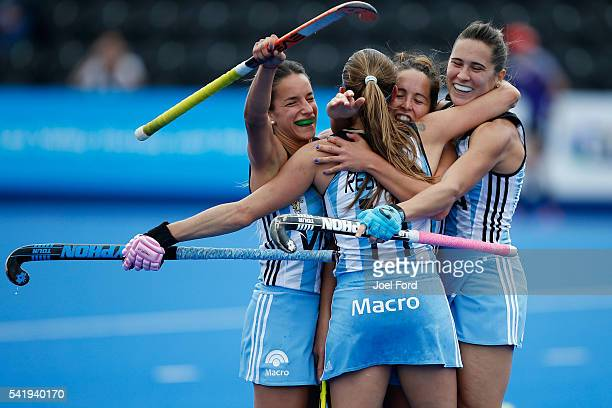 Carla Rebecchi of Argentina is congratuated by teammates after scoring the game winning goal during the FIH Women's Hockey Champions Trophy 2016...