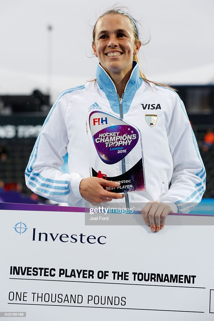 <a gi-track='captionPersonalityLinkClicked' href=/galleries/search?phrase=Carla+Rebecchi&family=editorial&specificpeople=762321 ng-click='$event.stopPropagation()'>Carla Rebecchi</a> of Argentina, player of the tournament at the FIH Women's Hockey Champions Trophy 2016 at Queen Elizabeth Olympic Park on June 26, 2016 in London, England.