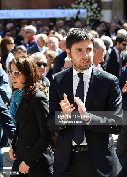 Carla Ruocco and Alessandro Di Battista leaves the church of Santa Maria delle Grazie attend the coffin of Gianroberto Casaleggio during Gianroberto...