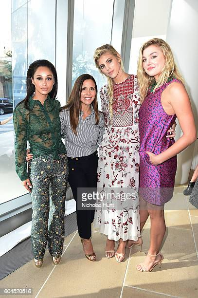 Carla Santana Monique Lhuillier Devon Windsor and Rachel Hilbert attend the Monique Lhuillier fashion show during New York Fashion Week September...