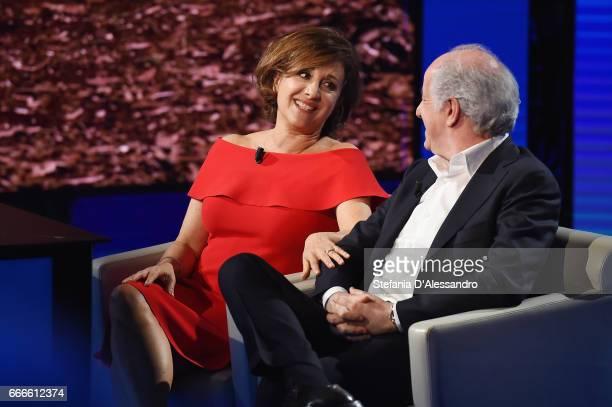 Carla Signoris and Toni Servillo attend 'Che Tempo Che Fa' tv show on April 9 2017 in Milan Italy