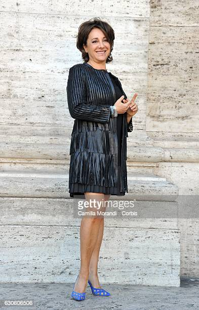 Carla Signoris attends a photocall for 'Mister Felicita' on December 28 2016 in Roma Italy