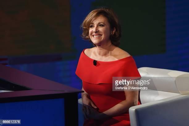 Carla Signoris attends 'Che Tempo Che Fa' tv show on April 9 2017 in Milan Italy