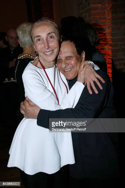 Carla Sozzani and Azzedine Alaia attend the 'Richard Wentworth a la Maison Alaia' Exhibition Opening at Azzedine Alaia Gallery on September 7 2017 in...