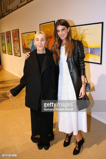Carla Sozzani and Bianca Brandolini d'Adda attend the 'pascALEjandro L'Androgyne Alchimique' Exhibition Opening at Azzedine Alaia Gallery on April 27...