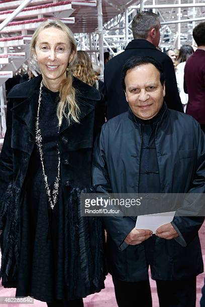 Carla Sozzani and Fashion Designer Azzedine Alaia attend the Christian Dior show as part of Paris Fashion Week Haute Couture Spring/Summer 2015 on...