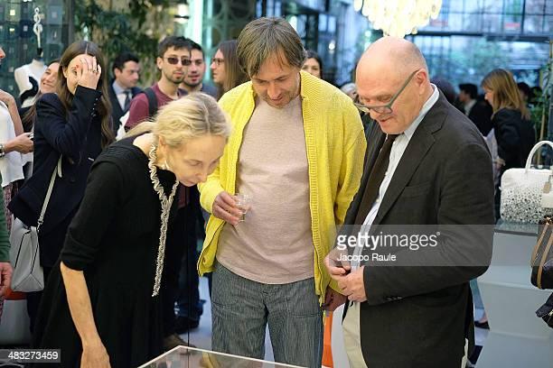 Carla Sozzani and Marc Newson attend 'Safilo By Marc Newson' Presentation on April 7 2014 in Milan Italy