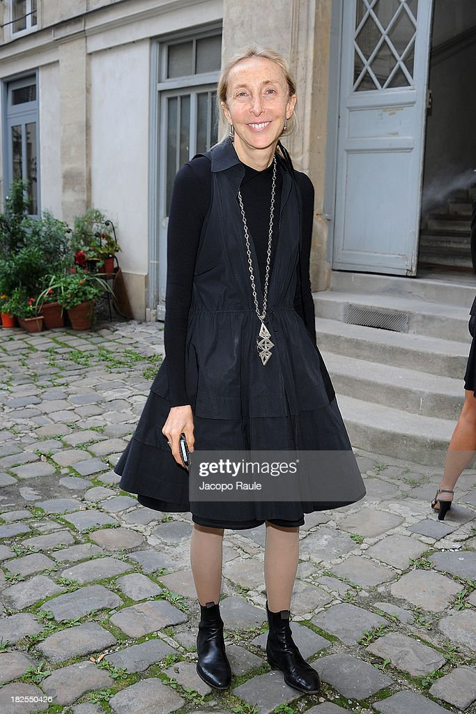 Carla Sozzani arrives at Delfina Delettrez Presents Jewelry Collection during Paris Fashion Week Womenswear SS14 - Day 7 on September 30, 2013 in Paris, France.
