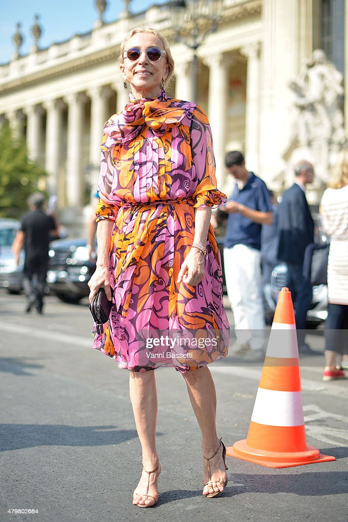 <a gi-track='captionPersonalityLinkClicked' href=/galleries/search?phrase=Carla+Sozzani&family=editorial&specificpeople=884879 ng-click='$event.stopPropagation()'>Carla Sozzani</a> poses wearing a Miu Miu dress after the Chanel show at the Grand Palais on July 7, 2015 in Paris, France.