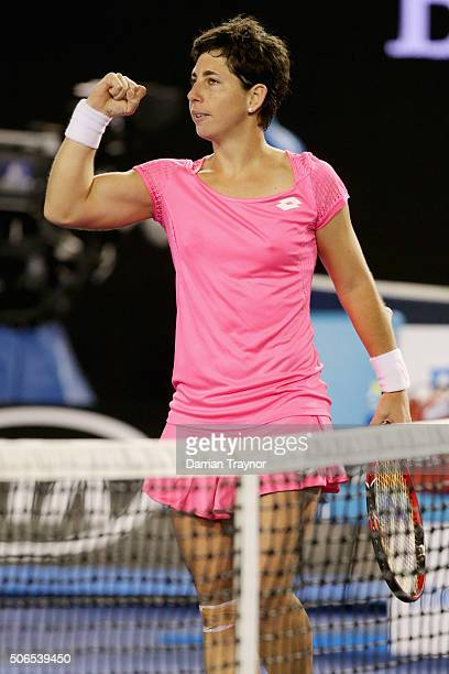 Carla Suarez Navarro of Spain celebrates winning her fourth round match against Daria Gavrilova of Australia during day seven of the 2016 Australian...