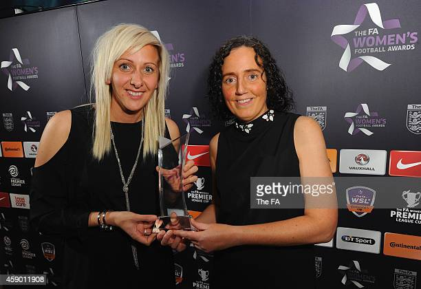 Carla Ward Captain of Sheffield FC Ladies and Helen Mitchell at The FA Women's Awards at Madame Tussauds on November 14 2014 in London England